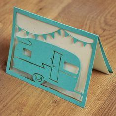 Cut Paper Greeting Card - vintage camper -- This looks just like the trailer we once owned, a 1963 Shasta!  Great memories camping with our two little girls.