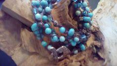 4strand hand knotted bracelet or Long necklace by halfmoonunder