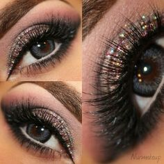 Beautiful makeup for the holidays. Black with Shimmer. Use Whiplash Eyelash curler to get the dramatic curl in the lashes. #holidaymakeup