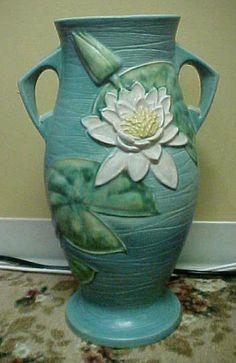 """Roseville Water Lily Vase Blue 85 18"""""""