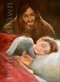 Safe in His Everlasting Arms. Jesus with a black by PrintsByShawn Images Du Christ, Pictures Of Jesus Christ, Pictures Of God, Jesus Wallpaper, Jesus Artwork, God Answers Prayers, Image Jesus, Bedtime Prayer, Jesus Christus