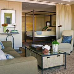 "How to Decorate a Studio Apartment 3. Use Moveable Dividers. Allow the studio to serve as one large entertaining space or separate the ""rooms"" as per their function by incorporating creative dividers. Folding screens or ceiling-mounted drapes are great examples of this, taking up minimal space while not in use."