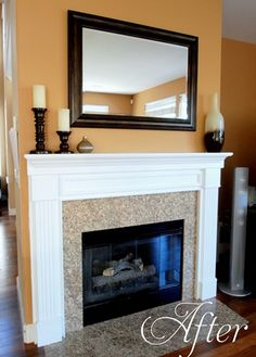 Paint over brass and painted Oak Mantel Makeover