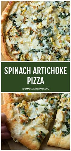 My favorite homemade pizza crust topped with a creamy garlic white sauce mozzarella chicken spinach and artichokes. This spinach artichoke pizza tastes just like the dip only better! Chicken Bacon Ranch Pizza, Mozzarella Chicken, Spinach Stuffed Chicken, Chicken Pizza Recipes, Spinach Artichoke Pizza, Artichoke Chicken, Artichoke Ideas, Pizza Life, White Sauce