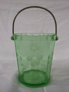 Vintage green depression glass ice bucket with cut glass flowers
