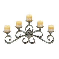 *Size: 23 Wide x 4 Depth x 11 High (Inches)*Material: Premium grade metal alloy*Color: Shabby brown with restoration look* Five candle holders, Extra wide; Spreads light evenly in (Large)r area; Nice