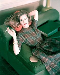 Ahhh this dress looks so wonderful. vintage fashions style color photo print ad plaid green brown wool dress day wear casual fit flare full pleated skirt belt movie star model jane fonda? 60s?