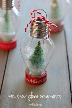 Fai da te Mini globo di neve ornamento |  +25 Bellissimi ornamenti fatti a mano