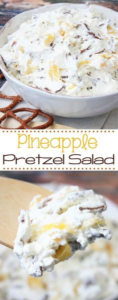 Pineapple Pretzel Salad - the perfect mix of salty and sweet! Salty pretzels mixed with cream cheese, whipped cream, and pineapple chunks - this is a perfect dessert for parties! for parties Pineapple Pretzel Salad Dessert Party, Dessert Salads, Fruit Salads, Jello Salads, Fruit Dishes, Party Salads, Salad Recipes For Parties, Fruit Platters, Party Snacks