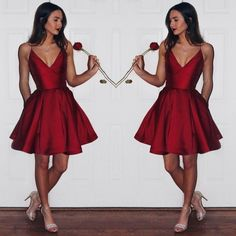 2017 Homecoming Dresses,Short/Mini Prom Dress,V-Neck Evening Dress
