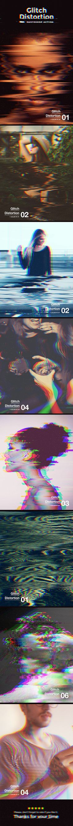 Glitch Distortion — Photoshop ATN #disturb #action • Download ➝ https://graphicriver.net/item/glitch-distortion-photoshop-action/19919670?ref=pxcr