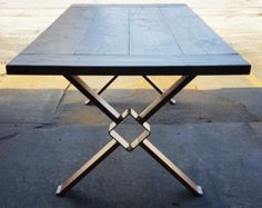 Modern Dining Table X Legs with 2 Braces Solid Table by DVAMetal