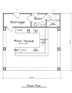 Pool Cabana Plan 676   Fonseca Home Plans