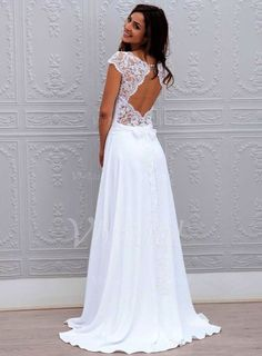 Wedding Dresses - $130.24 - A-Line\/Princess Scoop Neck Sweep Train Chiffon Lace Wedding Dress With Bow(s) (0025059917)