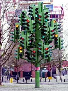 Traffic Light Tree in London, UK designed by Pierre Vivant features 75 sets of traffic lights in total