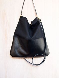 Black Leather and Black Canvas Tote Bag - HARRIS - Adjustable Leather Shoulder Bag Leather Shopper Bag by Jeanie Deans