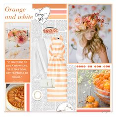 """Orange and white"" by cybelfee ❤ liked on Polyvore featuring Paper London, Yves Saint Laurent, Forever 21 and Aquazzura"