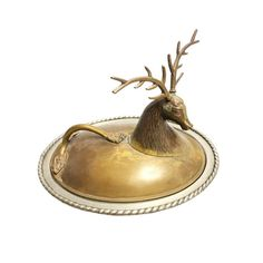 Vintage mid century metal covered serving dish with deer head on the brass lid. This is a unique and fun piece to use while serving your dishes! Country Style Homes, Amber Glass, World Traveler, Serving Dishes, Deer, Mid Century, Brass, Metal, Vintage