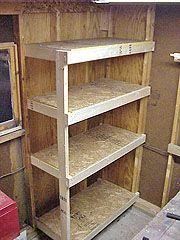 Building A Cheap And Sturdy Garage Shelf Unit Diy Holz Lagerschuppen Holzaufbewahrung