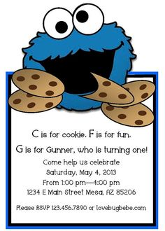 Cookie monster birthday invitation printable cookie monster cookie monster invitation by lovebugbebe on etsy 1200 filmwisefo Gallery