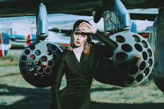 Black Dressed Woman in front of the Aircraft Bomb - Aviation Videos & Pictures