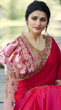 Prachi Desai Rani Pink Satin Silk Plain Saree With Designer Blouse Indian Blouse Designs, Full Sleeves Blouse Designs, Fancy Blouse Designs, Kurta Designs, Choli Designs, Sleeve Designs, Pattern Floral, Stylish Blouse Design, Saree Blouse Patterns