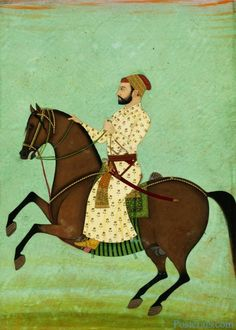 Mughal noble on horseback wearing a patka