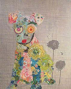 Fiberworks Laura Heine Collage EMERSON Dog Quilt Pattern 21 x 39 by PrivateSourceQuiltin on Etsy