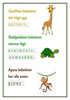 Giraffens bokstäver .pdf - OneDrive Teacher Education, School Teacher, Learning Support, Kids Learning, Alphabet Activities, Classroom Activities, Learn Swedish, Swedish Language, Kids Writing