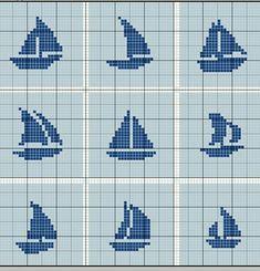 boats cross stitch pattern Cross Stitch Sea, Simple Cross Stitch, Cross Stitch Charts, Cross Stitch Designs, Cross Stitch Patterns, Baby Boy Knitting Patterns, Knitting Charts, Fair Isle Knitting Patterns, Cross Stitching