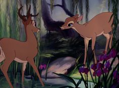 Screencap Gallery for Bambi Bluray, Disney Classics). The animated story of Bambi, a young deer hailed as the 'Prince of the Forest' at his birth. As Bambi grows, he makes friends with the other animals of Bambi Disney, Walt Disney, Cute Disney, Disney And Dreamworks, Disney Cartoons, Disney Art, Disney Pixar, Disney Posters, Disney Couples