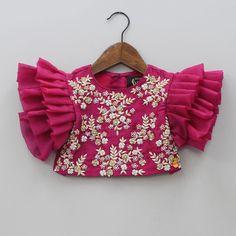 Girls Frock Design, Kids Frocks Design, Baby Frocks Designs, Kids Lehanga Design, Baby Girl Lehenga, Kids Lehenga, Kids Blouse Designs, Simple Blouse Designs, Kids Dress Wear