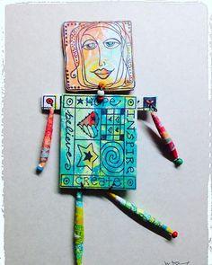 https://flic.kr/p/SL61Qh | Art Doll for a swap #gelliplate #gelliprint @gelliarts