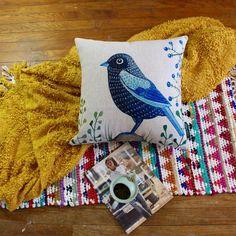 Vintage-inspired Sapphire Blue Bird Premium Cotton Linen Pillow Case #ArtDecoStyle