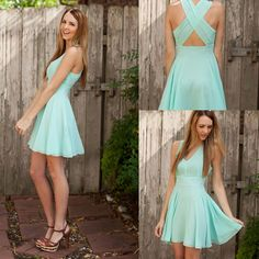 Simple Straps Blue Prom Dress
