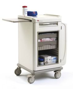 Mobile Drawer/Tote Cart, multi-functional with closed drawer storage below, tilt-out side bins and a slide-out work surface.