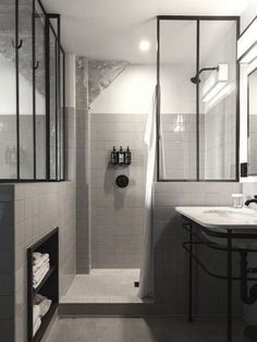 perfectuion from Commune: black and white bathroom, black metal framed glass dividers, Ace Hotel LA Bathroom Renos, Bathroom Interior, Modern Bathroom, Master Bathroom, Bathroom Ideas, Shower Bathroom, Minimalist Bathroom, Small Bathrooms, Dream Bathrooms