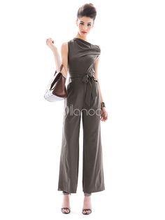 Shaping Khaki Drawstring Sash Decorated Polyester Jumpsuits For Women