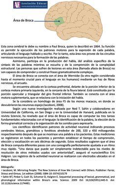 Infografía Neurociencias: Área de Broca.   Asociación Educar