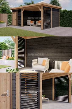 Outdoor Garden Rooms, Outdoor Gazebos, Outdoor Living, Backyard Sheds, Backyard Patio Designs, Backyard Landscaping, Modern Gazebo, Modern Patio, Wood Pergola