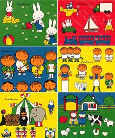 Dick Bruna illustrations ~ from vintage picture cube set (put in this folder for the colours Dick Bruna uses) Book Cover Design, Book Design, Drawing For Kids, Art For Kids, Picture Cube, Old Children's Books, Retro Interior Design, Miffy, Cool Animations