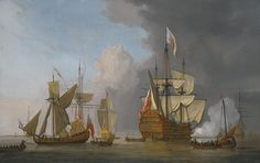 """The Royal Sovereign"" firing a single cannon with a royal yacht in a light air, longboats and other men-of-war and shipping on a calm sea with land beyond to the left"