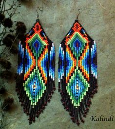 Browse unique items from ShopKalindi on Etsy, a global marketplace of handmade, vintage and creative goods. Seed Bead Earrings, Fringe Earrings, Boho Earrings, Seed Beads, Aztec Earrings, Native Beading Patterns, Beaded Earrings Patterns, Native Beadwork, Bead Weaving