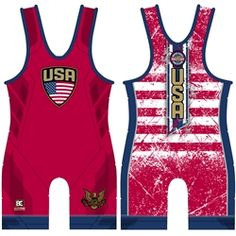 Stars and Stripes Red Wrestling Singlet Wrestling Singlet, Wrestling Shoes, Blue Highlights, Red Design, Red And White Stripes, Kids Sports, Gym Wear, Athlete, Athletic Tank Tops