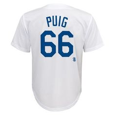 Los Angeles Dodgers Boys' Yasiel Puig Jersey White XS