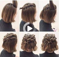 Hairstyles for short hair, twisted hair styles  easy hairstyles ,this is so cool! Braided Crown Hairstyles, Prom Hairstyles For Short Hair, Braids For Short Hair, Short Hair Cuts, Braided Hairstyles, Wedding Hairstyles, Simple Hairstyles, Beautiful Hairstyles, Hairstyles 2016