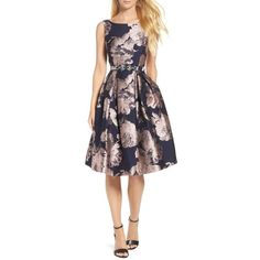 Women's Eliza J Belted Brocade A-Line Dress (2040 MAD) ❤ liked on Polyvore featuring dresses, navy, belted dress, navy blue a line dress, cocktail party dress, brocade dress and navy blue party dress