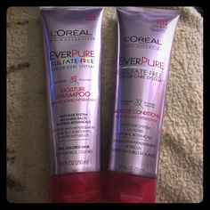 Loreal Hair Expertise Color Shampoo & Conditioner Brand new, 8.5 oz each. L'Oreal Paris Hair Expertise Ever Pure Sulfate-Free Color Care System Moisture Shampoo & Conditioner Set (8.5 FL OZ Each). One shampoo and one conditioner (one set). Loreal Makeup