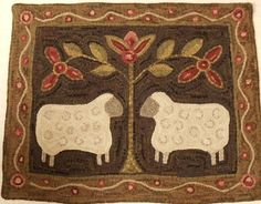 Rug Hooking Pattern Two Sheep on Monks Cloth by DesignsInWool Rug Hooking Kits, Rug Hooking Designs, Rug Hooking Patterns, Rug Patterns, Primitive Sheep, Primitive Folk Art, Primitive Crafts, Primitive Stitchery, Penny Rugs