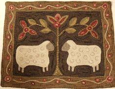 primitive rug hooking | Rug Hooking Pattern Two Sheep on Primitive Linen by DesignsInWool